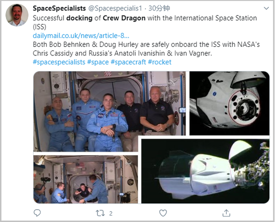 A screengrab from SpaceSpecialists' Twitter account on May 31, 2020, shows the photos illustrating the moments of the