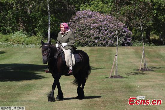 Britain's Queen Elizabeth pictured on horseback in Windsor