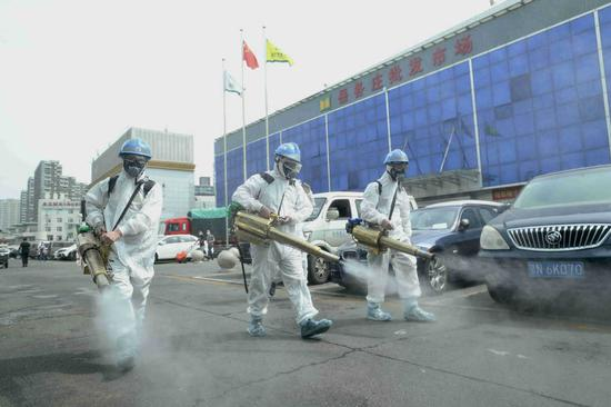 Rescue team disinfects wholesale market in Beijing