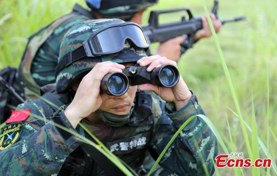 Armed police conduct drill in Fujian