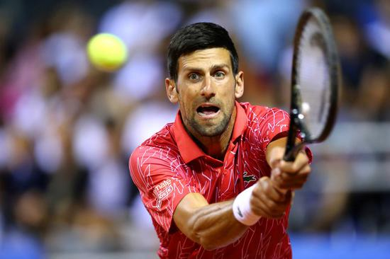 Serbia's Novak Djokovic in action during his match against Croatia's Borna Coric on June 20, 2020. (Photo/Xinhua)