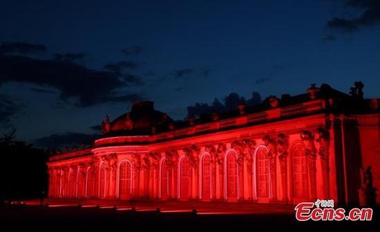 Sanssouci Palace illuminated during the 'Night of Lights' in Germany