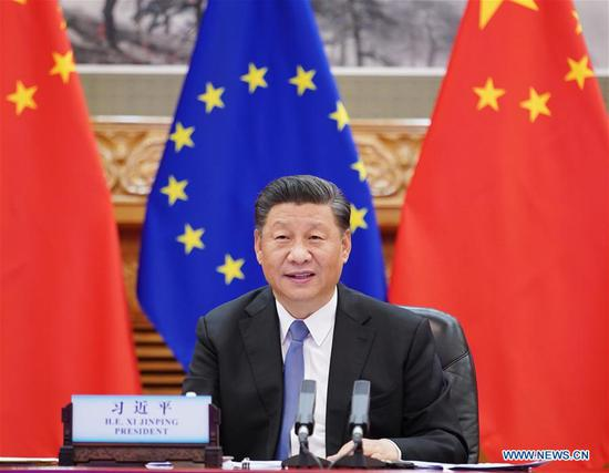 President Xi Jinping meets with President of the European Council Charles Michel and President of the European Commission Ursula von der Leyen via video link in Beijing, on June 22, 2020. (Photo/Xinhua)