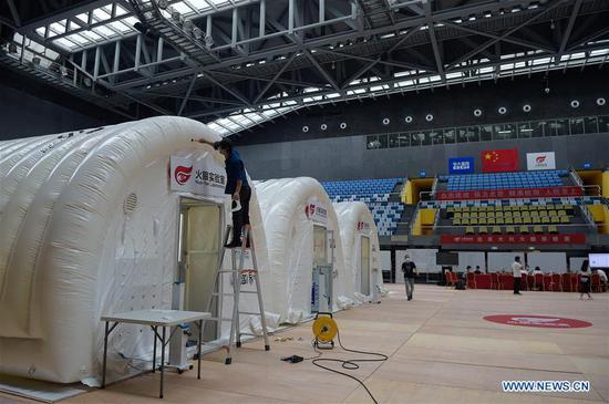 带有充气结构的COVID-19测试实验室在北京开始试运行