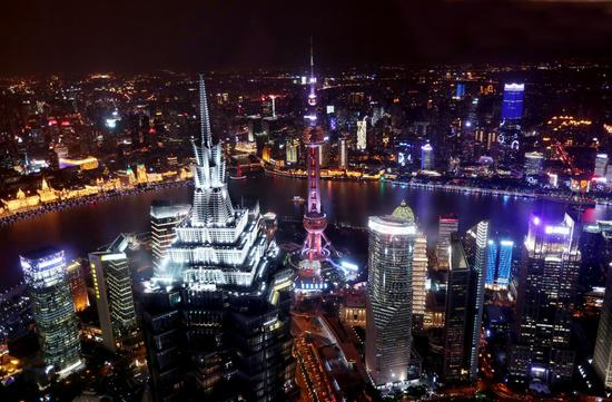 Photo taken on Oct. 25, 2018 shows a night view of the Lujiazui area in Shanghai, east China. (Xinhua/Liu Ying)