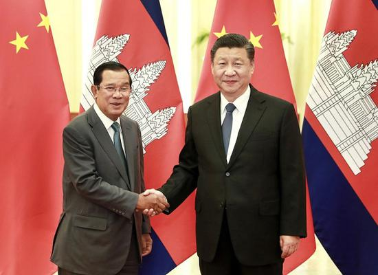 Chinese President Xi Jinping meets with Cambodian Prime Minister Samdech Techo Hun Sen at the Great Hall of the People in Beijing, capital of China, Feb. 5, 2020. (Xinhua/Pang Xinglei)