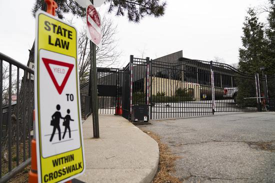 Photo taken on March 3, 2020 show the closed gate of SAR Academy in Bronx of New York, the United States. (Xinhua/Wang Ying)