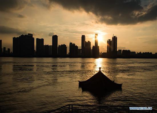 武汉市汉口长江水位下降