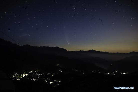 Comet NEOWISE seen in sky over Beijing's suburb