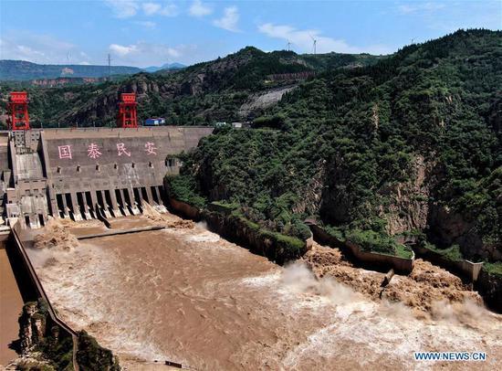 Sanmenxia水库释放水以确保足够的洪水储存能力
