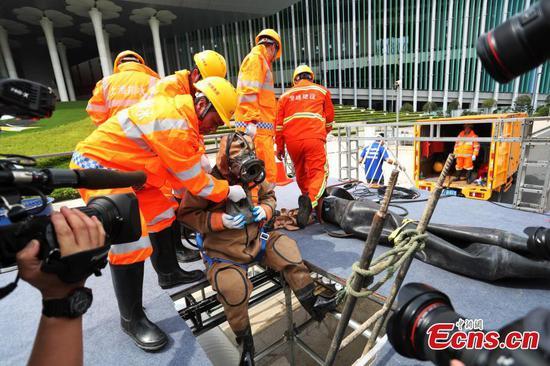 在上海举行的防洪演习