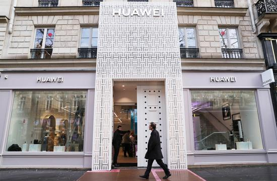 Photo taken on March 5, 2020 shows Huawei's flagship store in Paris, France. (Xinhua/Gao Jing)
