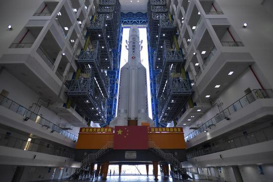 Photo taken on July 17, 2020 shows the Long March-5 rocket at the Wenchang Space Launch Center in south China's Hainan Province. (Photo by Zhang Gaoxiang/Xinhua)
