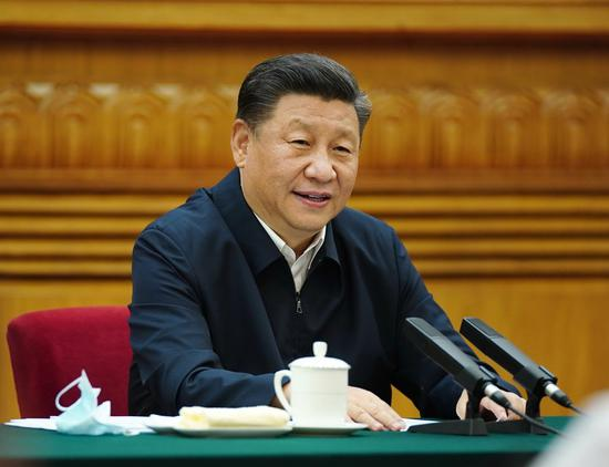 Chinese President Xi Jinping, also general secretary of the Communist Party of China Central Committee and chairman of the Central Military Commission, chairs a symposium with entrepreneurs in Beijing, capital of China, July 21, 2020. (Xinhua/Ju Peng)