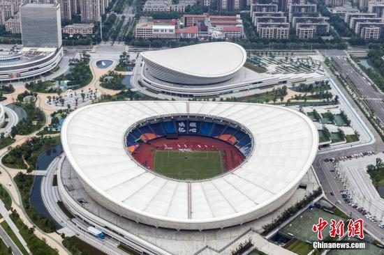 Aerial view of Suzhou Olympic Sports Center