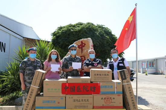 Chinese peacekeepers donate medicines, medical equipment to Lebanon