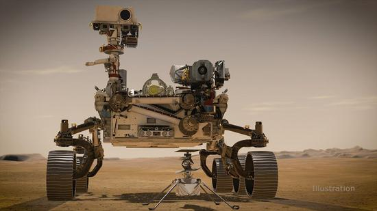 NASA's Perseverance Mars rover and Ingenuity helicopter are shown in an artist's concept. (Photo credit: NASA/JPL-Caltech)