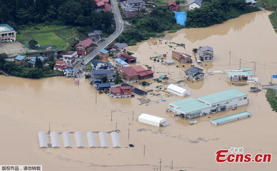 降雨创纪录,导致日本山形县发生河水泛滥