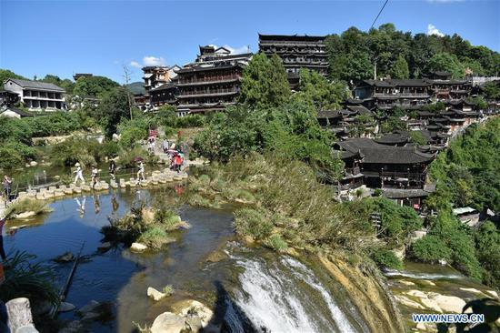 Tourists enjoy leisure time in Yongshun County, China's Hunan
