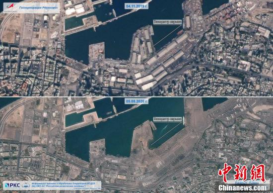Satellite images show the port of Beirut the day before and after blast