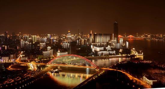 Photo taken on April 13, 2020 shows night view in Wuhan, central China's Hubei Province. (Xinhua/Wang Yuguo)
