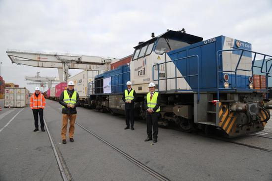 Chinese and German guests attend the welcome ceremony of China-Europe freight train from Wuhan in Duisburg, Germany, April 14, 2020. (The Consulate General of the People's Republic of China in Dusseldorf/Handout via Xinhua)