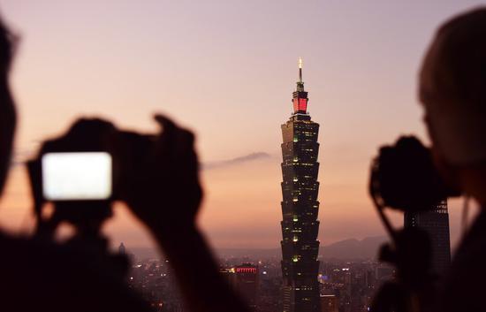 File photo shows the Taipei 101 skyscraper, a landmark in Taipei, southeast China's Taiwan. (Xinhua/Zhu Xiang)