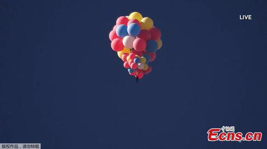 Daredevil floats in sky hanging from a cluster of balloons