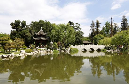A view of the Chinese garden Liu Fang Yuan is seen inside the Huntington Library, Art Collections and Botanical Gardens in Los Angeles, the United States, April 21, 2019. (Xinhua/Li Ying)