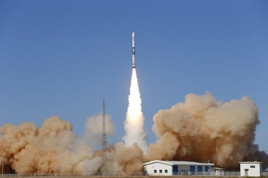 Two satellites, Xingyun-2 01 and 02, are launched by a Kuaizhou-1A (KZ-1A) carrier rocket from the Jiuquan Satellite Launch Center in northwest China, May 12, 2020. (Photo by Shan Biao/Xinhua)