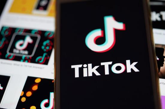 The logo of TikTok is seen on a smartphone screen in Arlington, Virginia, the United States, Aug. 30, 2020. (Xinhua/Liu Jie)