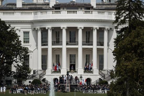 Photo taken on Sept. 15, 2020 shows the signing ceremony of normalization agreements between the United Arab Emirates and Bahrain with Israel at the White House in Washington, D.C., the United States. (Photo by Ting Shen/Xinhua)