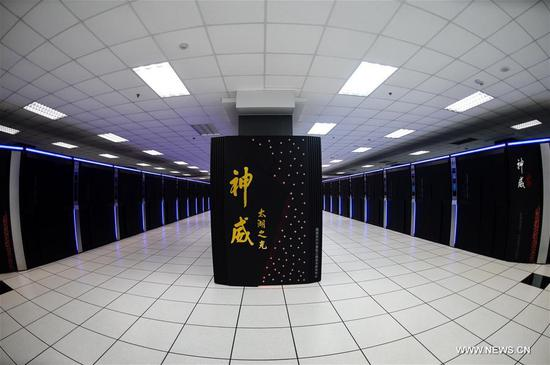 China's homegrown Sunway TaihuLight, is the first supercomputer of its kind to only use domestically-made parts. [Photo/Xinhua]