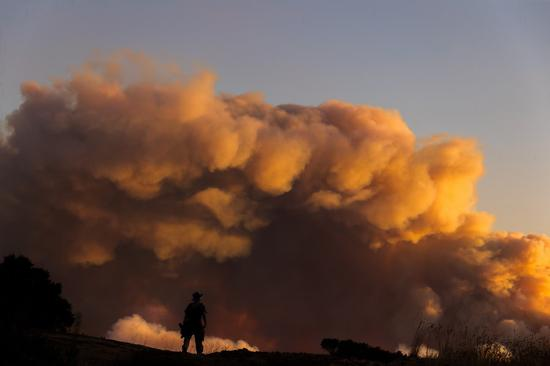 Photo taken on Aug. 19, 2020 at the Windy Hill Open Space Preserve of San Mateo County shows the dense smoke of wildfires in San Francisco Bay Area, California, the United States. (Photo by Dong Xudong/Xinhua)