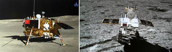 Left part of the combo photo shows the lander of the Chang'e-4 probe taken by the rover Yutu-2 (Jade Rabbit-2) on Jan. 11, 2019, and right part shows the rover Yutu-2 (Jade Rabbit-2) taken by the lander of the Chang'e-4 probe on Jan. 11, 2019. (Xinhua/China National Space Administration)
