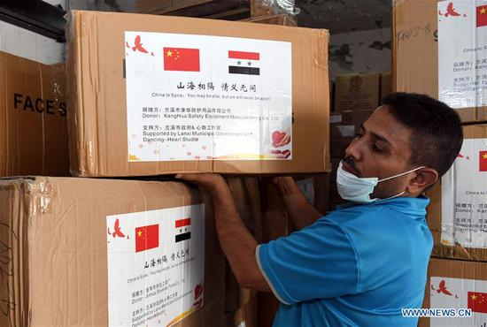 China donates new medical supplies to Syria to help fight COVID-19 pandemic