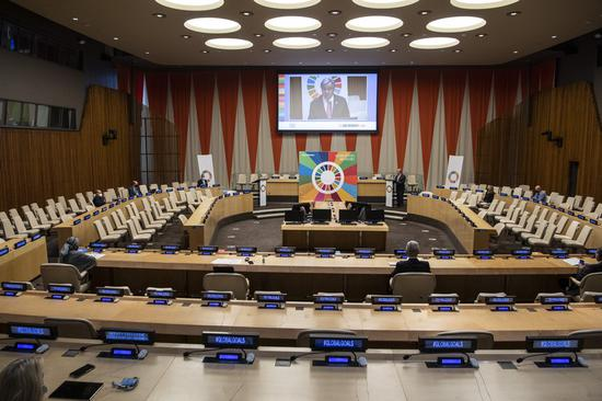 United Nations Secretary-General Antonio Guterres (rear R) convenes the virtual Sustainable Development Goals Moment 2020 at the UN headquarters in New York, on Sept. 18, 2020. (Eskinder Debebe/UN Photo/Handout via Xinhua)