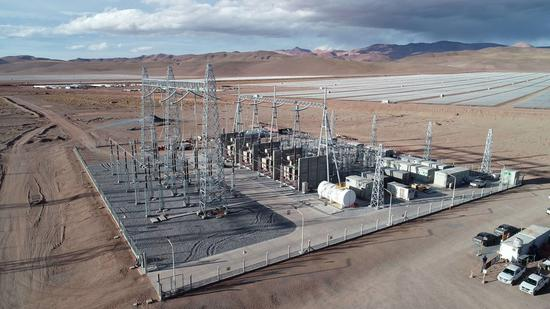 Image provided by China Power Construction Group taken with a drone on June 12, 2020 of the Cauchari Solar Park, built by China Power Construction and Shanghai Electric Power Construction Company, in town Cauchari, Jujuy, Argentina.(Xinhua/China Power Construction Group)