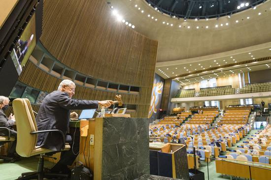 Volkan Bozkir, president of the 75th session of the United Nations General Assembly(UNGA), opens the General Debate of the 75th session of the UN General Assembly at the UN headquarters in New York on Sept. 22, 2020. (Rick Bajornas/UN Photo/Handout via Xinhua)
