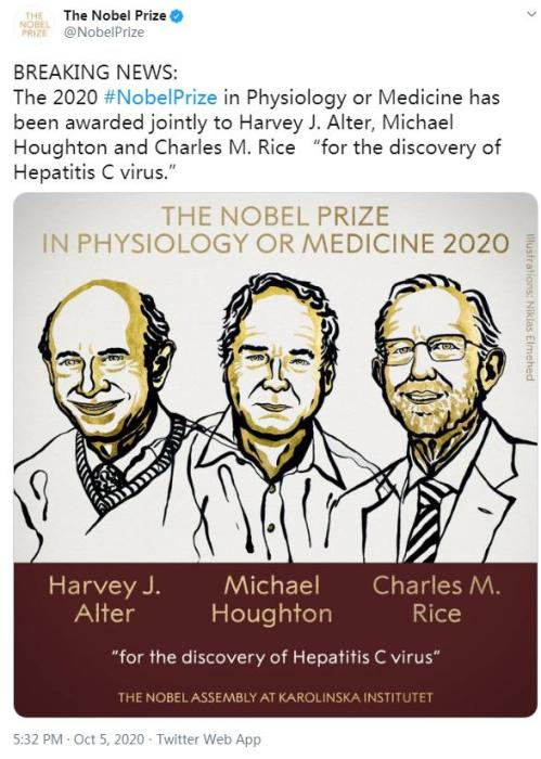 Three scientists share 2020 Nobel Prize in Physiology or Medicine