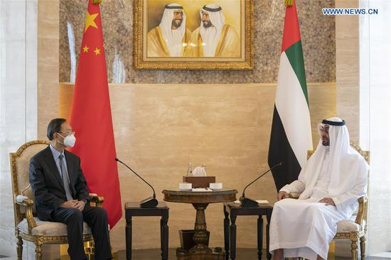Abu Dhabi Crown Prince Sheikh Mohammed bin Zayed Al Nahyan (R) meets with Yang Jiechi, a member of the Political Bureau of the Central Committee of the Communist Party of China (CPC) and director of the Office of the Foreign Affairs Commission of the CPC Central Committee, in Abu Dhabi, the United Arab Emirates (UAE), on Oct. 10, 2020. (Xinhua)