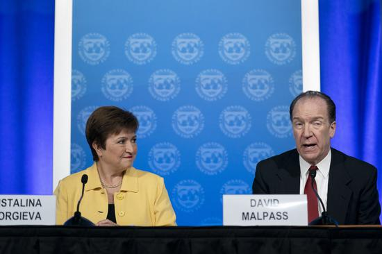 International Monetary Fund (IMF) Managing Director Kristalina Georgieva (L) and World Bank President David Malpass attend a press conference in Washington D.C., the United States, on March 4, 2020. (Xinhua/Liu Jie)