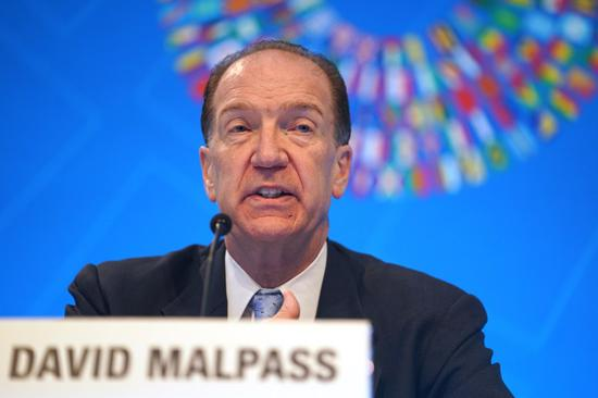 World Bank President David Malpass speaks during a press conference in Washington Oct. 17, 2019. (Xinhua/Liu Jie)