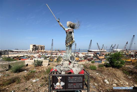 Lebanese artists create statue of lady by using rubbles of Beirut port explosion