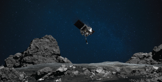 Photo provided by NASA on Oct. 20, 2020 shows Origins, Spectral Interpretation, Resource Identification, Security-Regolith Explorer (OSIRIS-REx) mission readies itself to touch the surface of asteroid Bennu. (Xinhua)