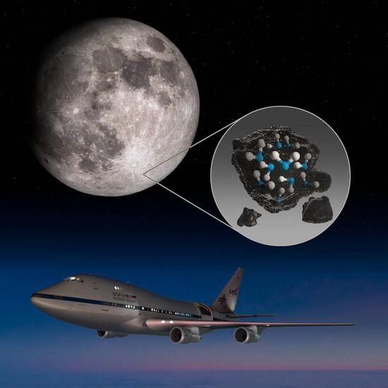 The illustration from NASA shows the moon's Clavius Crater with an illustration depicting water trapped in the lunar soil there, along with an image of NASA's Stratospheric Observatory for Infrared Astronomy (SOFIA). (Xinhua)