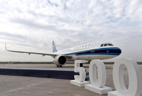 The 500th A320 aircraft assembled at the Airbus Final Assembly Line Asia (FALA) is pictured in Tianjin, north China, Oct. 29, 2020. (Photo by Zhao Zishuo/Xinhua)