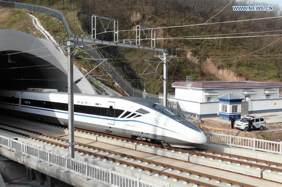 Trial operation of Xi'an-Yinchuan high-speed railway conducted in Shaanxi