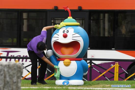 People visit 'Doraemon's Time-Travelling Adventures in Singapore' exhibition