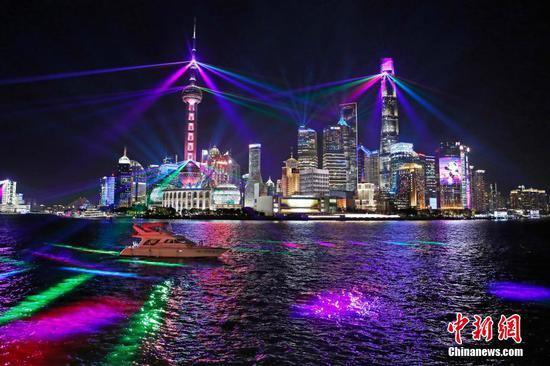 Light show themed on CIIE held in Shanghai
